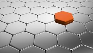 Orange Silber Baustein Konzept
